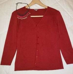 Ann Taylor Medium Petite Red Silk Cotton Cardigan